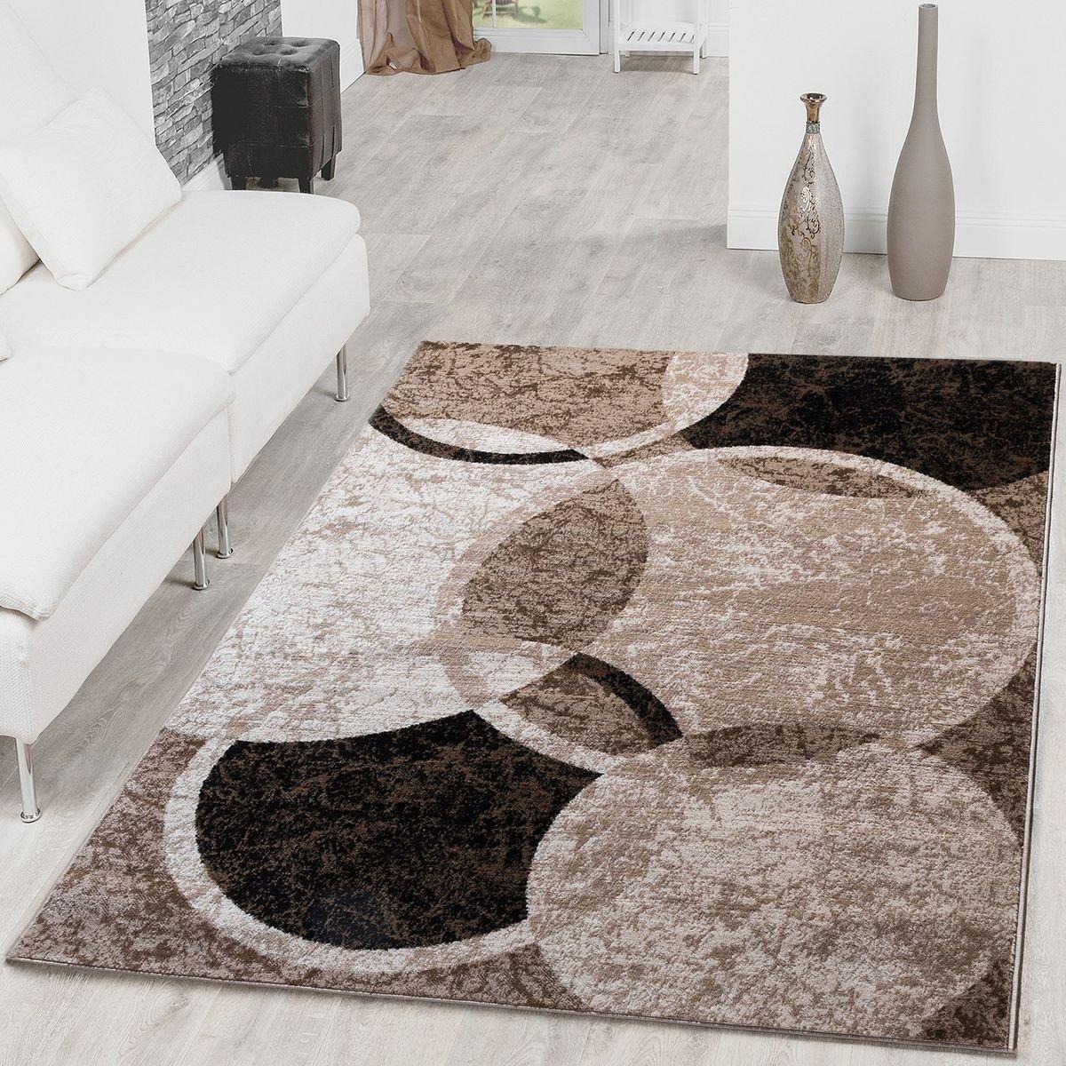 Teppich Kreis Design Modern Wohnzimmerteppich Braun Beige Schwarz Meliert, Größe 190x280 cm