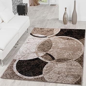 Teppich Kreis Design Modern Wohnzimmerteppich Braun Beige Schwarz Meliert,  Größe:60x100 Cm