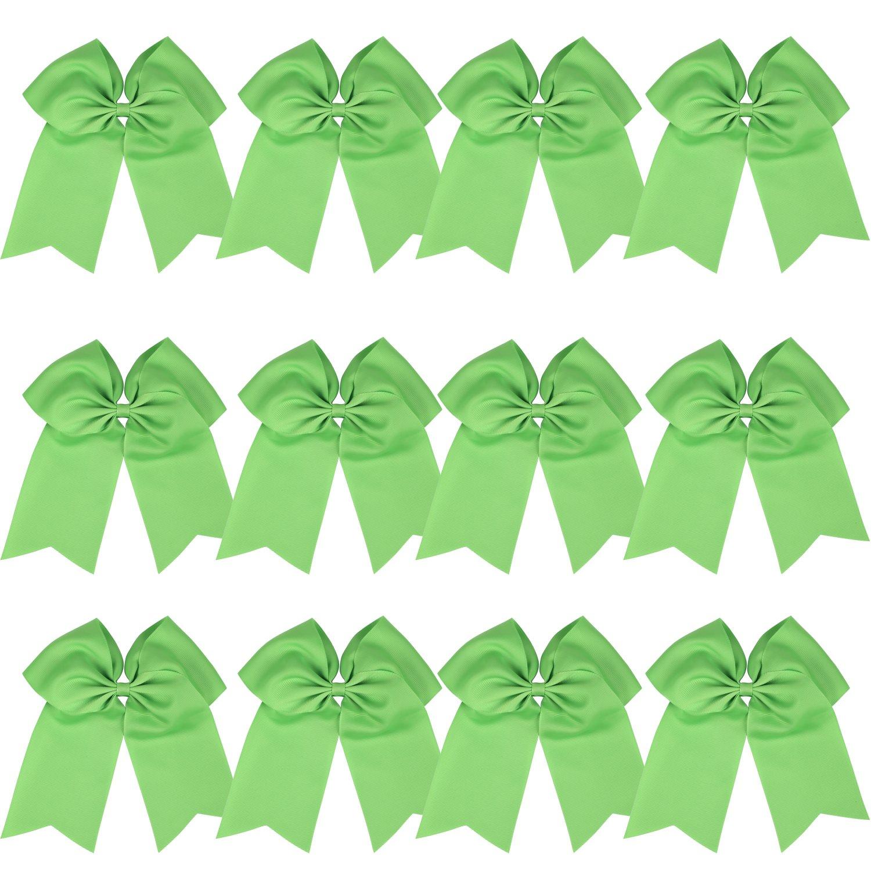 "8"" Inch Cheerleader Bows Ponytail Holder Cheerleading Bows Hair Tie (Apple green)"
