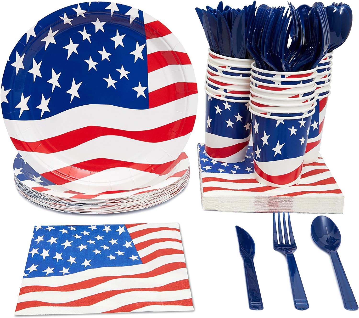 American Flag Party Bundle, Includes Paper Plates, Napkins, Cups and Cutlery (Serves 24, 144 Total Pieces): Toys & Games