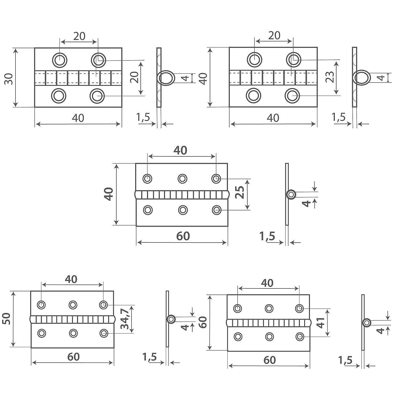 4 St/ück Scharnier 80x80 mm Edelstahlscharniere | Edelstahl A2 Beschlag OPIOL QUALITY Scharniere T/ürscharniere T/ürband Inox