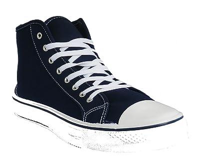 5807429f1ec7 ASOS Mens Boys Navy Blue Plimsolls Trainers Casual Hi Top Boots ...