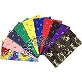 T&Z 100% Cotton 10 Pack Fine Bandanas Professional Factory Manufactured