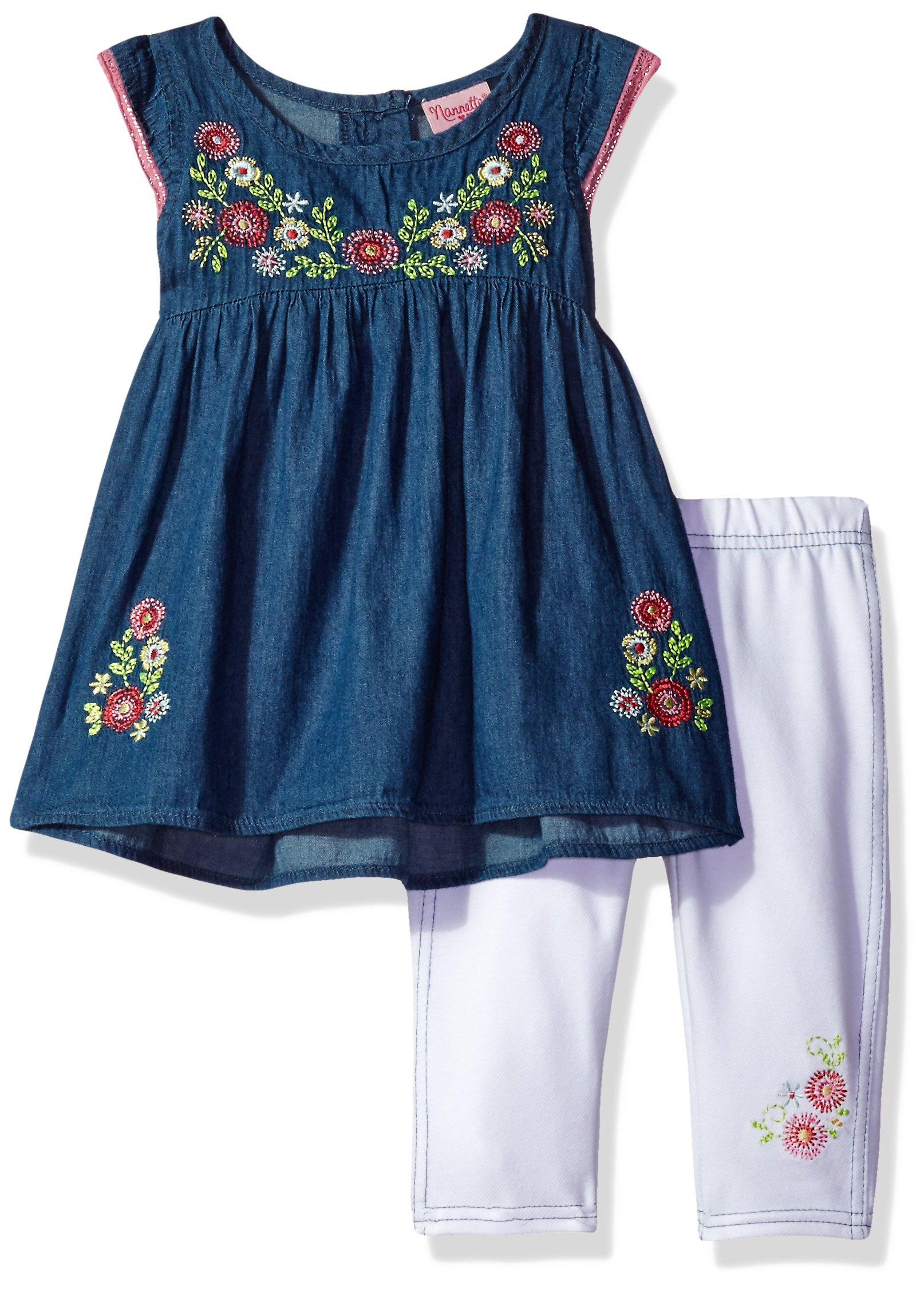 Nannette Toddler Girls' 2 Piece Set with Embroidered Chambray Top and Solid Legging, Blue, 3T
