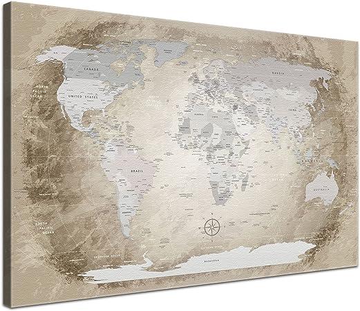 LanaKK® - mapamundi beige con corcho - versión Inglés, reproducción artística sobre lienzo premium en bastidor, tablón