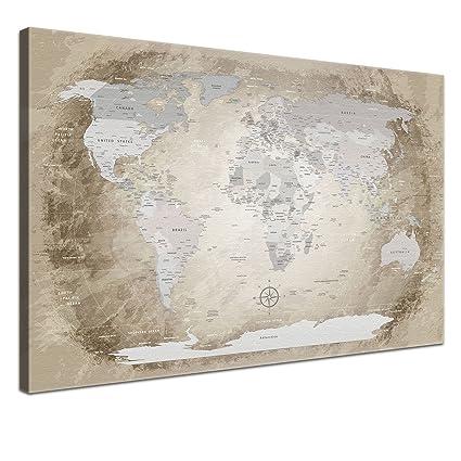 LanaKK Mapamundi con Corcho para Fijar los destinos - Mapa del Mundo Beige, inglés,