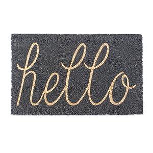 """DII Natural Coir Fiber, 18x30 Entry Way Outdoor Door Mat with Non Slip Backing-Hello Gray, 18 x 30"""","""