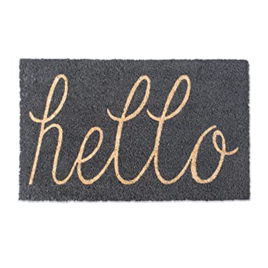 DII Natural Coir Fiber, 18x30 Entry Way Outdoor Door Mat with Non Slip Backing-Hello Gray, 18 x 30 ,