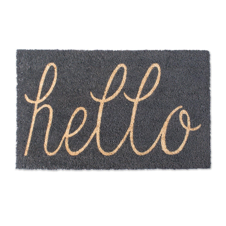 DII Indoor/Outdoor Natural Coir Easy Clean Rubber Non Slip Backing Entry Way Doormat For Patio, Front Door, All Weather Exterior Doors, 18 x 30'' - Gray Hello