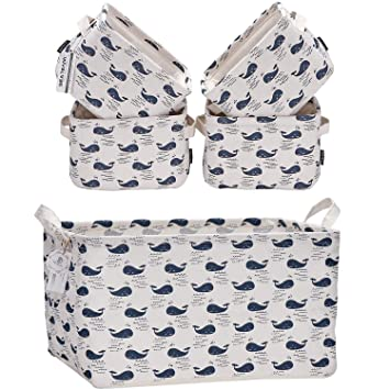 Whale 16.5-Inch Storage Basket and 4-Pack Mini Size Storage Basket Sea Team 19.7-Inch Laundry Hamper