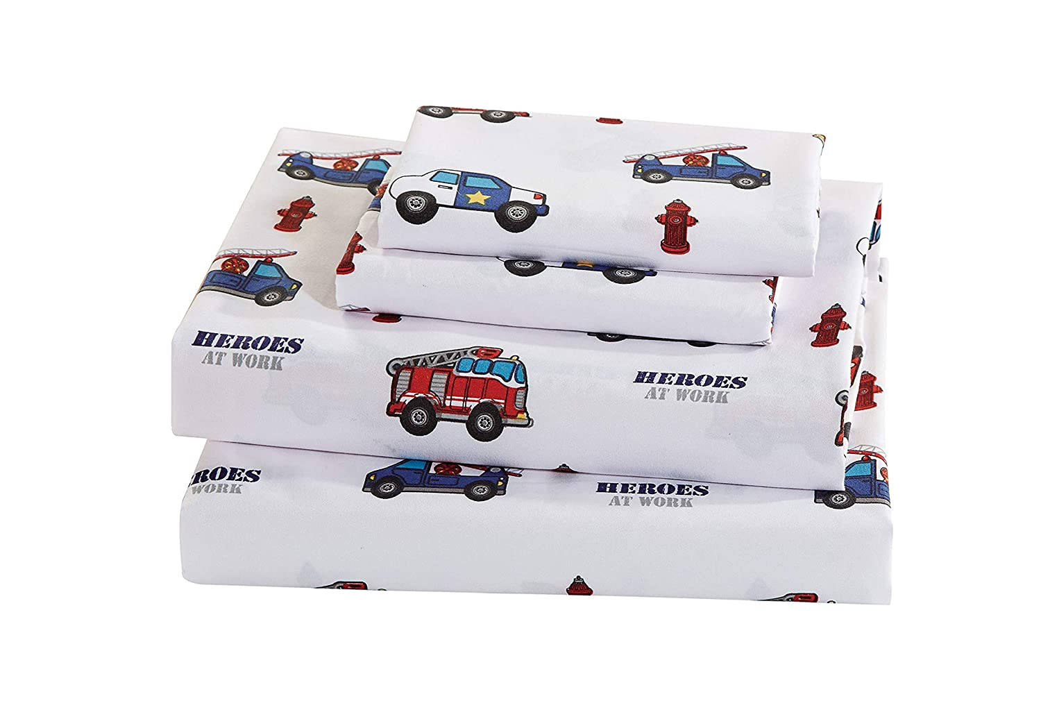 Luxury Home Collection 7 Piece Kids Full Comforter Set Heroes Police Car Fire Truck Tow Fire Hydrant White Blue Red #Heroes Full Comforter