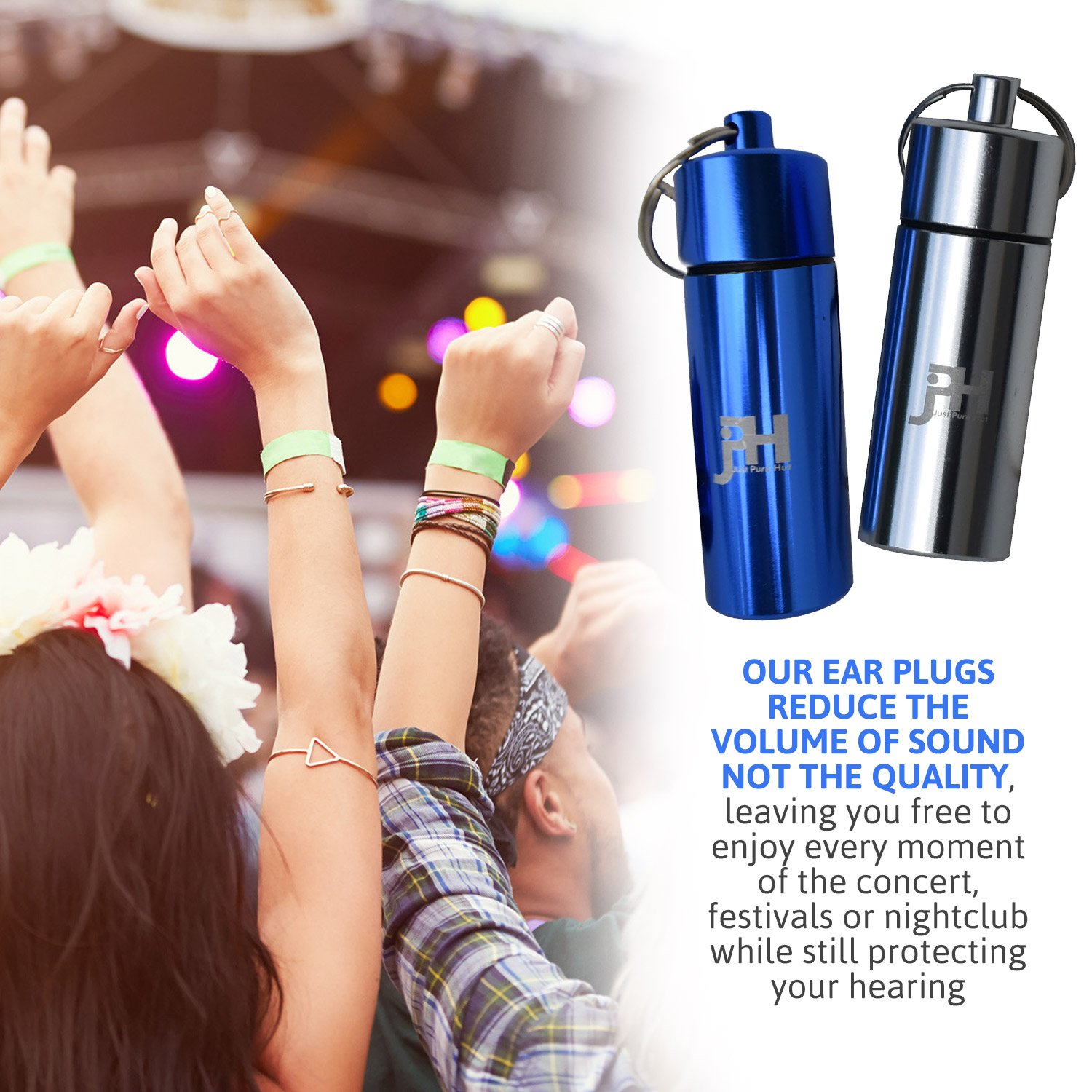 Ear Plugs - Best Noise Cancelling for Concerts, Musicians, Shooting, Sleeping, Construction, Flying, Travel, Motorbikes and Swimming - Set of 3 Silicone Protection with 2 Containers by Just Pure Hut (Image #5)