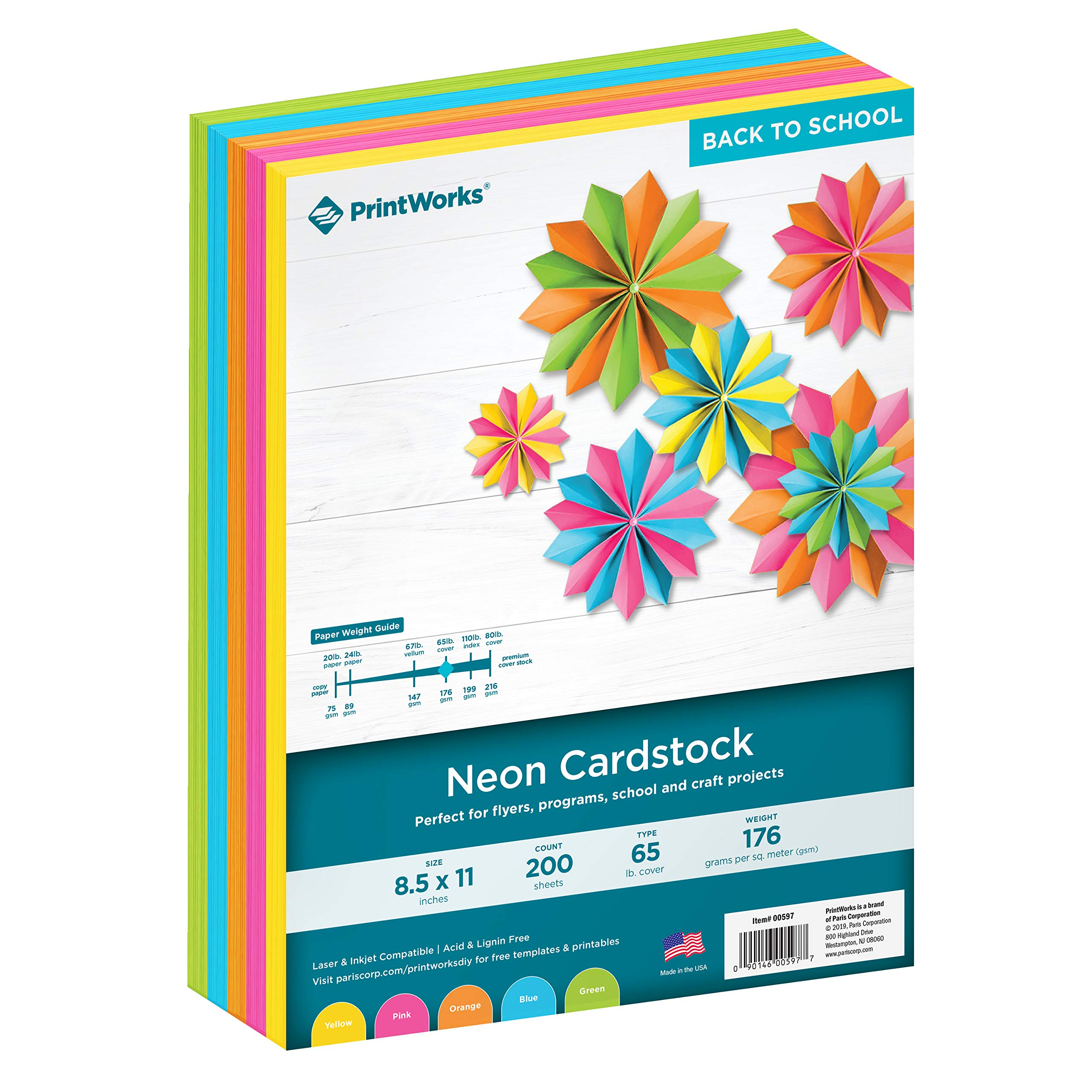 Printworks Neon Cardstock, 65 lb, 5 Assorted Florescent Colors, Perfect for School and Craft Projects, 200 Sheets, 8.5'' x 11'' (00597)