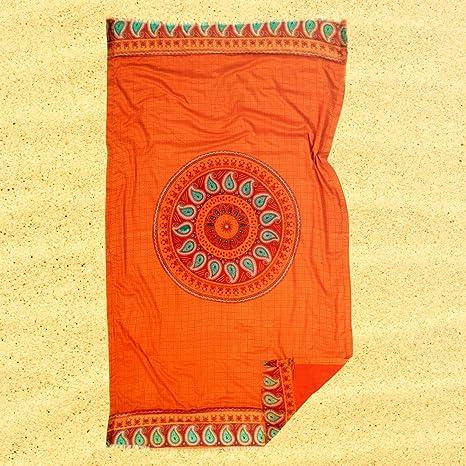 Burrito Blanco Pareo para playa/Toalla pareo Mandala 184 Algodón 100% con Reverso de
