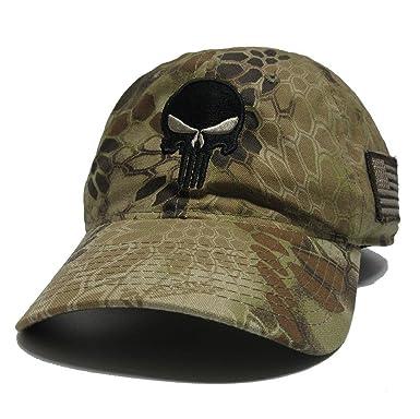 81f3781814a Military imagine Kryptek Punisher Skull Black Hat Cap US Flag Patch ...