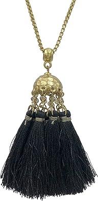 Amazon Com Gypsy Jewels Long Multi Thread Tassel Fringe Cluster Statement Gold Tone Chain Necklace Black Jewelry
