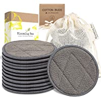 12 Charcoal Bamboo Reusable Makeup Remover Pads With Laundry Bag (+ 100% Biodegradable Cotton Bamboo Earbuds-100 pcs…