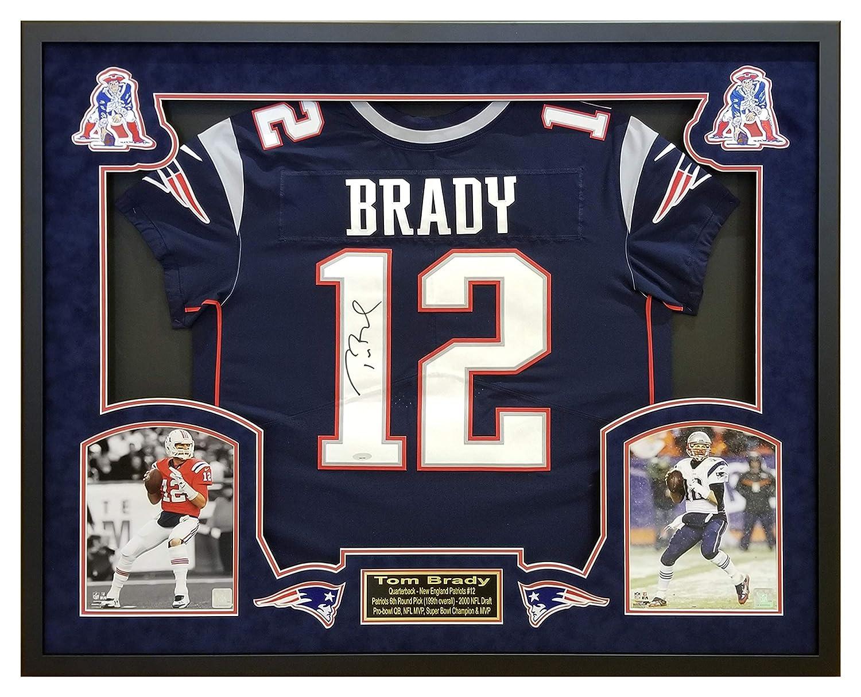 buy popular 9ed59 0be08 Tom Brady New England Patriots Framed Autographed Nike Navy ...