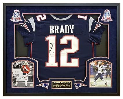 buy popular d48fe 94c59 Tom Brady New England Patriots Framed Autographed Nike Navy ...