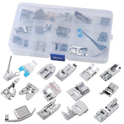 15pcs profesional juego de prensatelas para máquina de coser pie pies Kit para todos los modelos