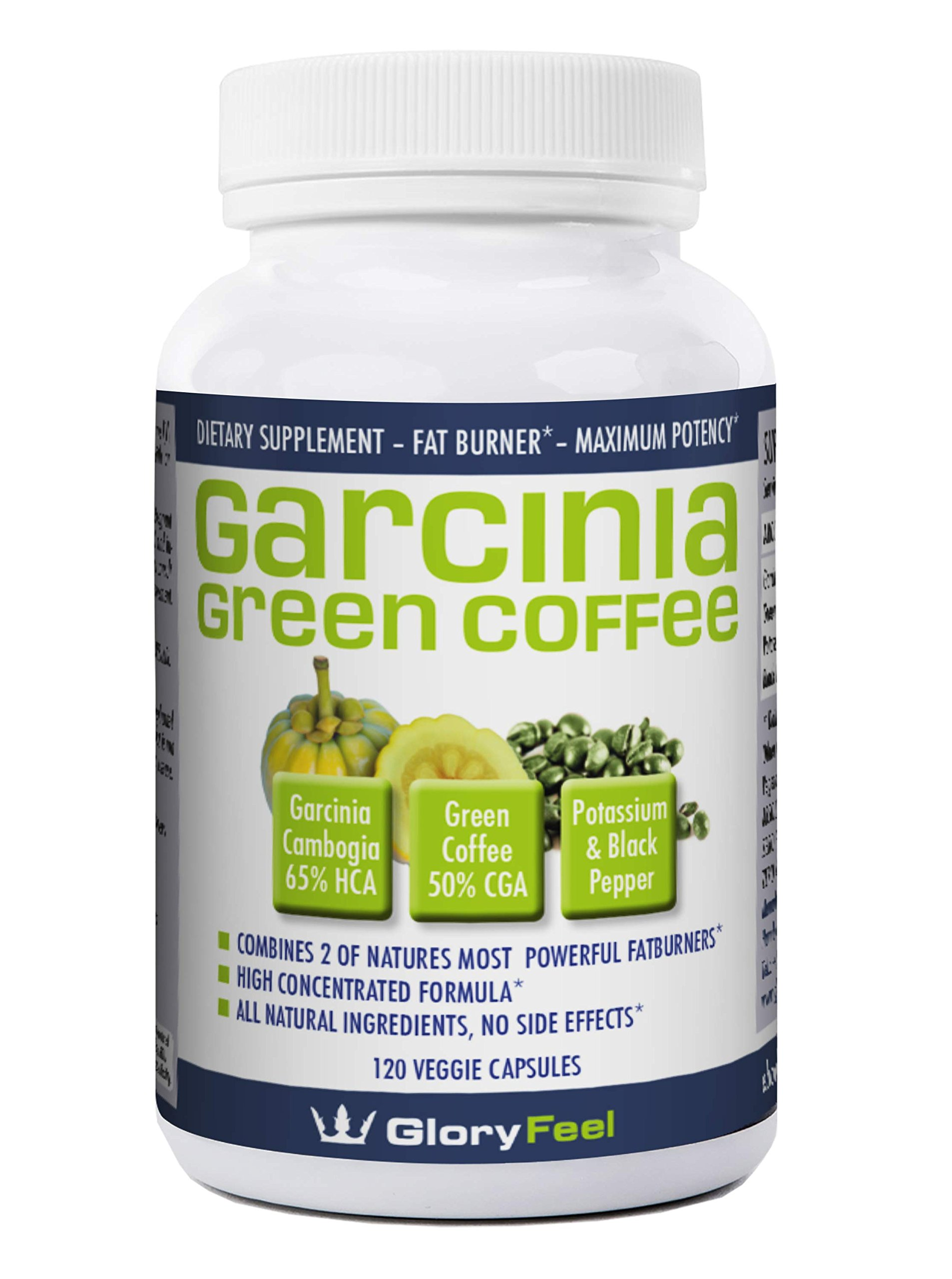 GloryFeel Garcinia Cambogia (95% HCA) + Green Coffee Extract - Weight Loss Pills for Women - Mens Supplements - Best Appetite Suppressant - 100% Natural Fatburner