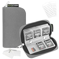 Memory Card Carrying Case - Suitable for SDHC and SD Cards - 8 Pages and 22 Slots - ECO-FUSED Microfiber Cleaning Cloth Included (1 Pack, Grey)