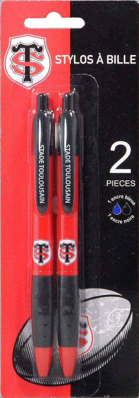 Stylo bille r/étractable Toulouse Collection officielle STADE TOULOUSAIN Rentr/ée scolaire 100/% Rugby Lot de 2