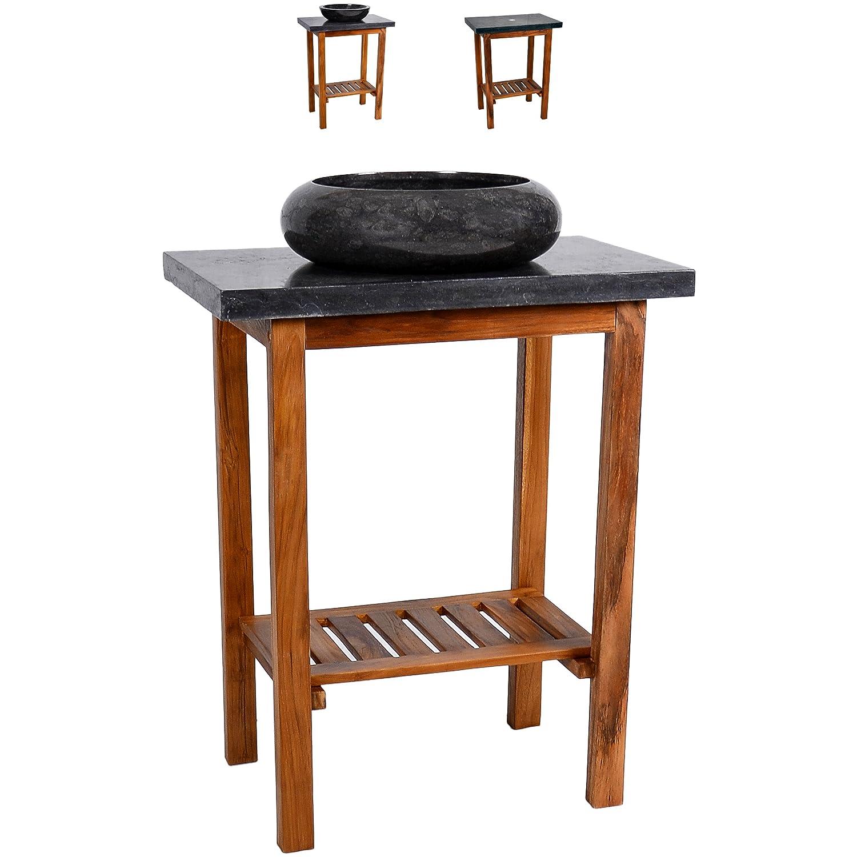Divero Waschtisch Teak Holz mit Waschbecken und Platte aus schwarzem ...