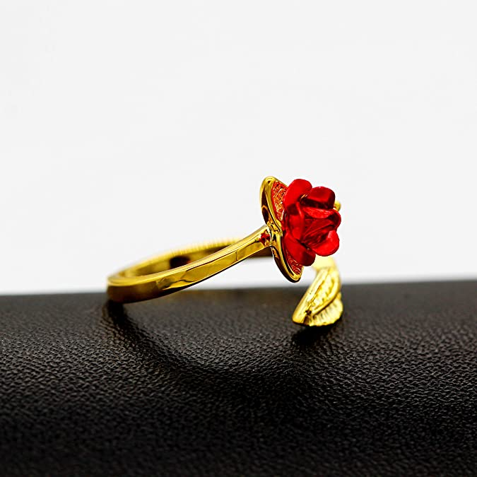 Gold Color Fashion Ring Jewelry Red Flower Design Rings For Women Bridal A5H2