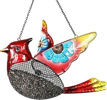 Red Cardinal Hanging Bird Feeder Metal Perch Sun Flower Seed Out Door Garden New