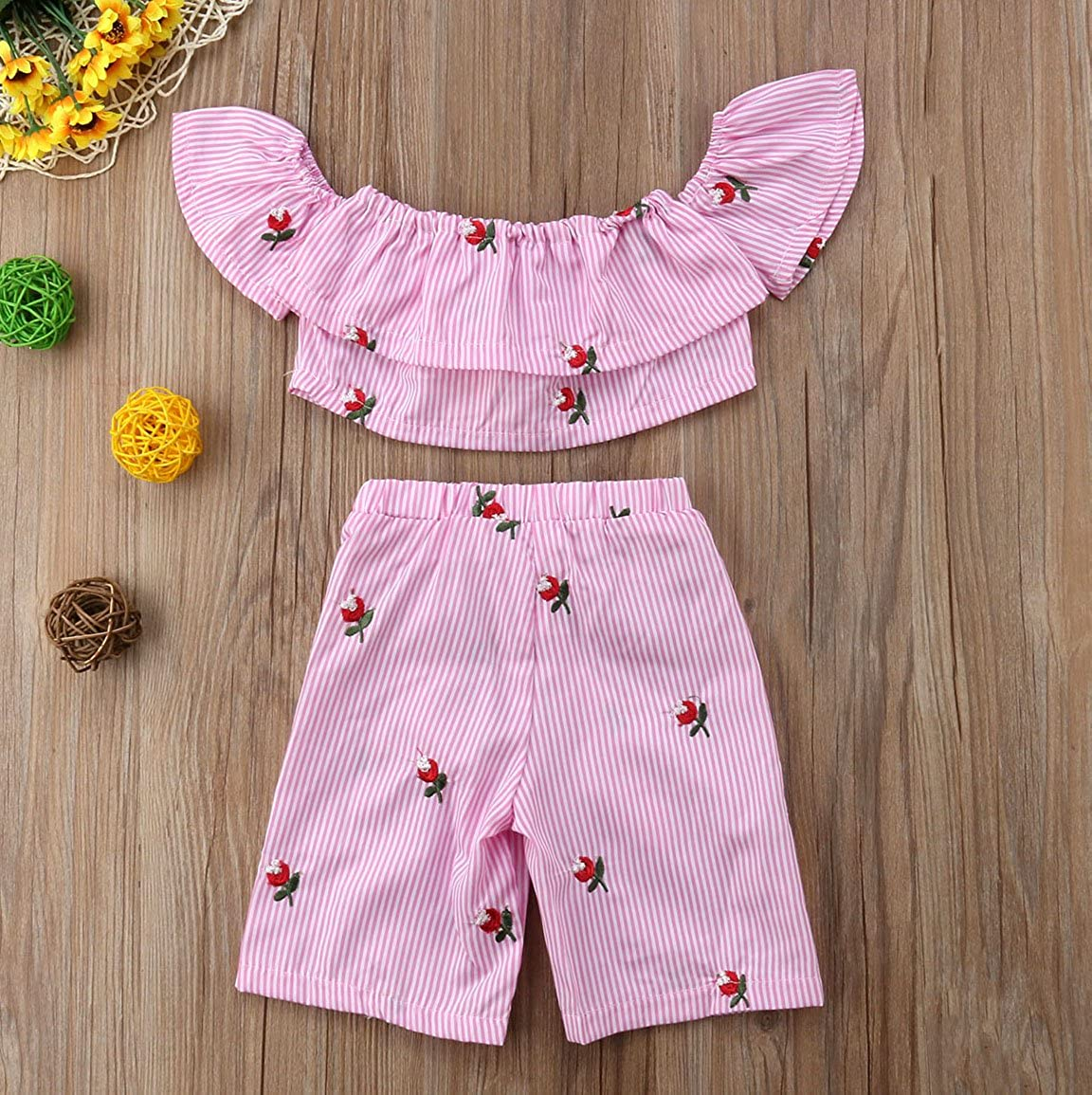 2dd5618c3b3bc Clothing & Accessories Toddler Girl Stripe Off-shouler Tube Top Baby Pant  Set Outfit