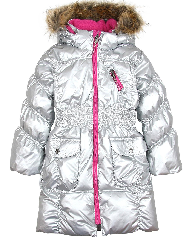 c0bb7251 Deux par Deux Girls' Puffer Coat with Fur Trim Silver, Sizes 2-14 (2):  Amazon.ca: Clothing & Accessories