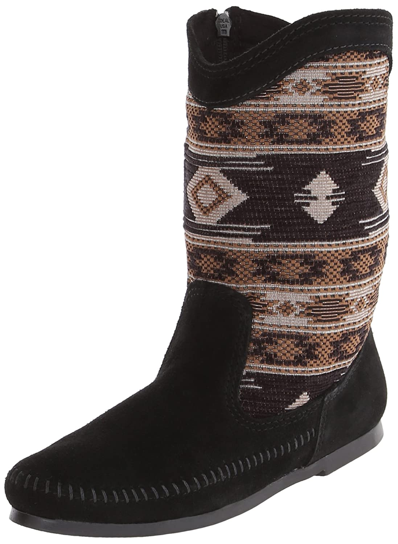 Minnetonka Baja Damen Halbschaft Mokassin Stiefel Schwarz (schwarz)