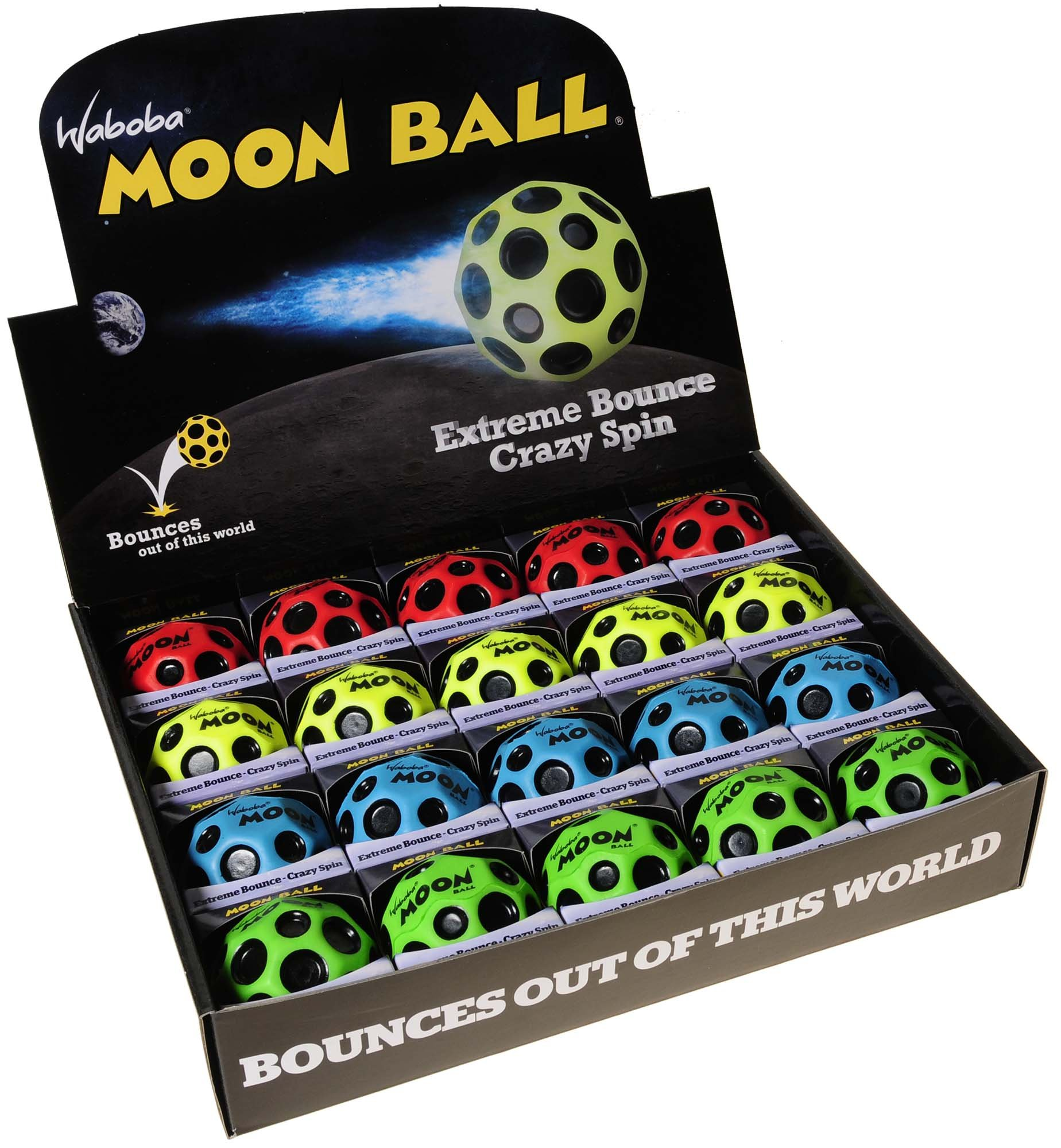 Waboba MOON Extreme Bounce Balls, Bundle of 20, 5 each in 4 Neon Colors, BONUS Blue Nylon-Black Mesh Drawstring Pack, Bundled Items by Waboba (Image #5)