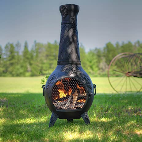 Good The Blue Rooster Co. Grape Style Cast Aluminum Wood Burning Chiminea In  Charcoal.