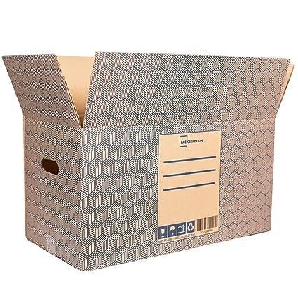 10 Cajas de Mudanza y Almacenaje Grandes y resistentes con Asas (60x30x27,5cm) - Cajas de Carton para envio