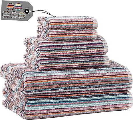 Amazon Com Truly Lou Striped Towel Sets For Bathroom Decorative Multi Color Stripes Soft Absorbent 100 Cotton Bathroom Towel Set Includes 6 Pieces 2 Bath Towels 2 Hand Towels 2 Washcloths Blue Coral Kitchen Dining