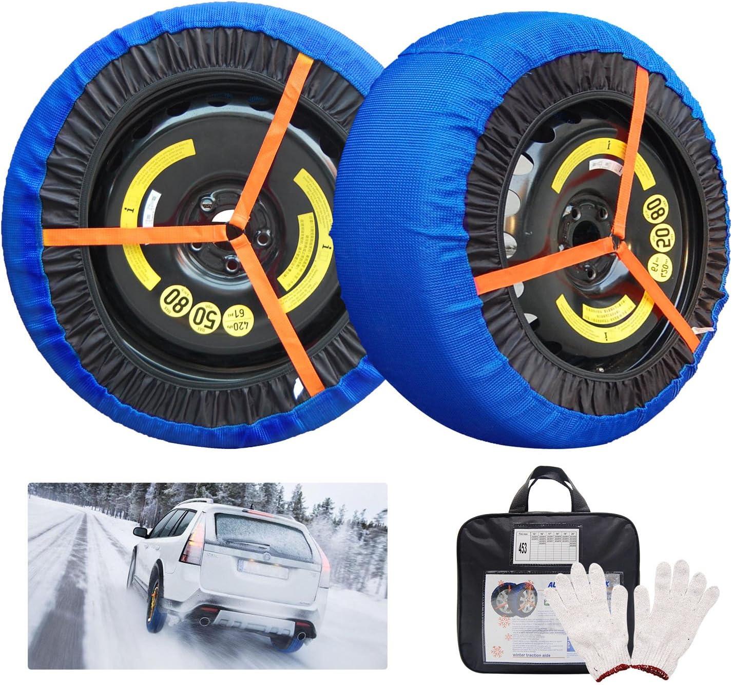 JSHANMEI Snow Socks Traction Adjustable Car Tire Cover Socks Tire Chains Alternative Anti Slip Winter Traction Aid Snow Sock (49)