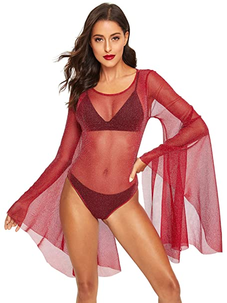 67c265b96f0a Romwe Women's Sexy Backless Bell Sleeve Glitter Sheer Mesh Bodysuit Burgundy  XS
