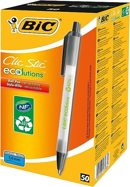BIC Clic Stic ECOlutions bolígrafos Retráctiles punta media (1,0 ...