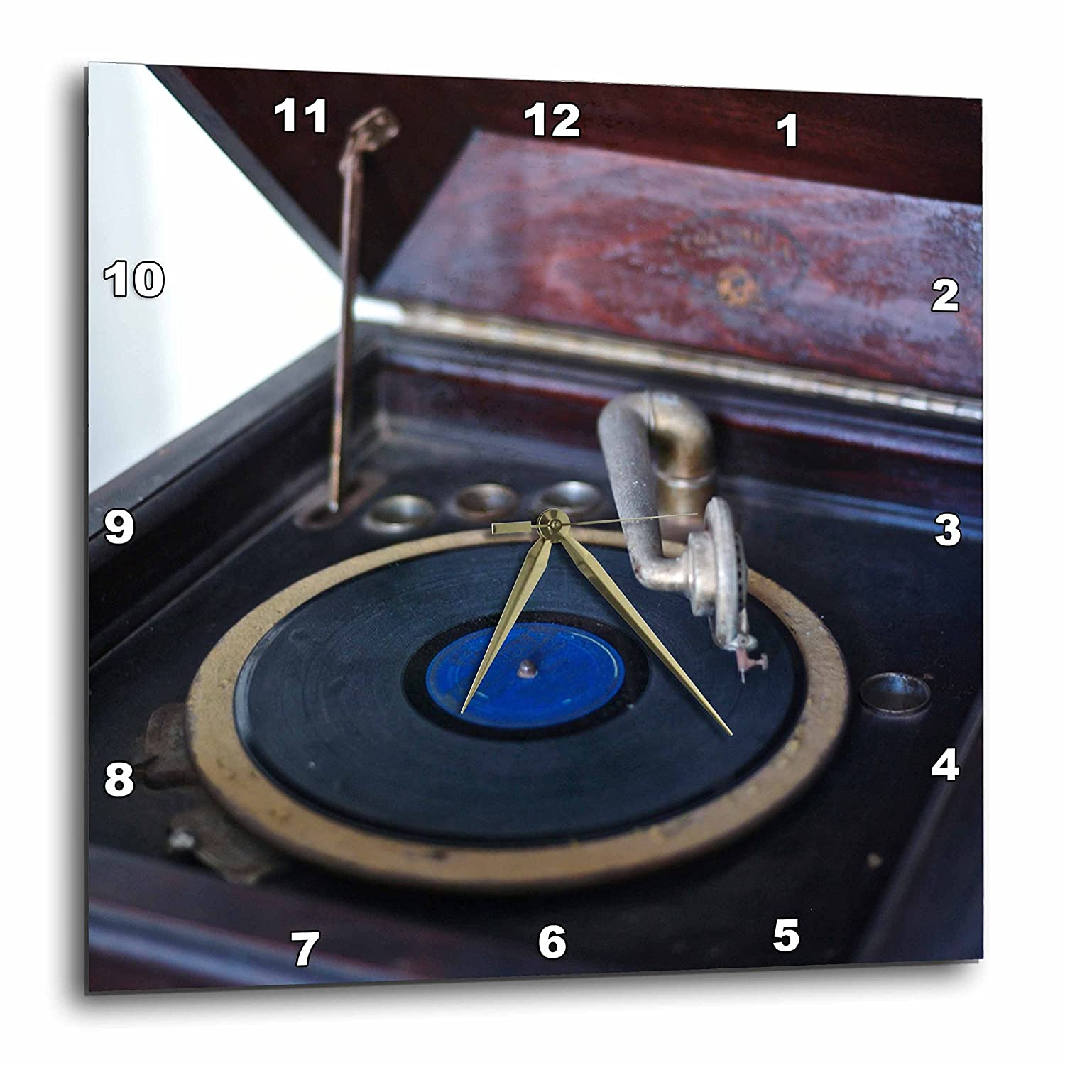 10 by 10-Inch 3dRose dpp/_56781/_1 Vintage Record Player Wall Clock