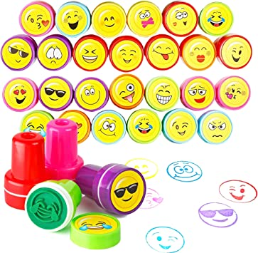 DIY Craft for Children Party Gifts Moore Art 26 Piece Self Inking Emoji Plastic Stampers with Multi Color Bright Smiley Emoji Ink Stamps