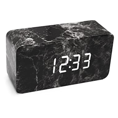 LiKee Alarm clock, Marble Fashion Wooden LED Alarm Clock with Dual Power, Multi-function, 3 Intelligent Alarms, Voice Control Screen and 3 Modes