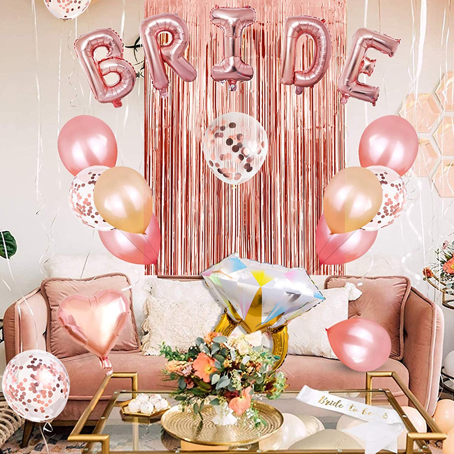 Curtains Rose Gold Bridal Shower Supplies Hen Party Decor BRIDE Foil Banner Wedding Confetti Diamond Balloons Sash Naughty Photo Props Bachelorette Party Decorations With Table Runner