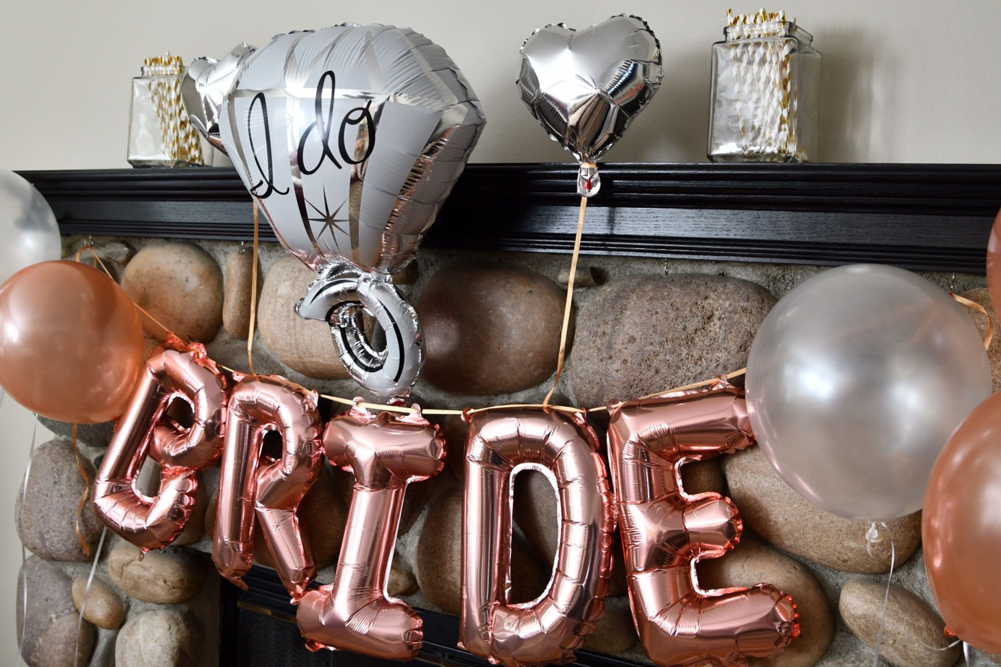 Bachelorette Party Decorations Pack - Rose Gold Party Supply Kit with Rose Gold, White Pearl and Silver Heart Balloons + Rose Gold Straws + The Bride Sash + Bride Foil Banner and Diamond Ring Balloon by Party Simple (Image #4)
