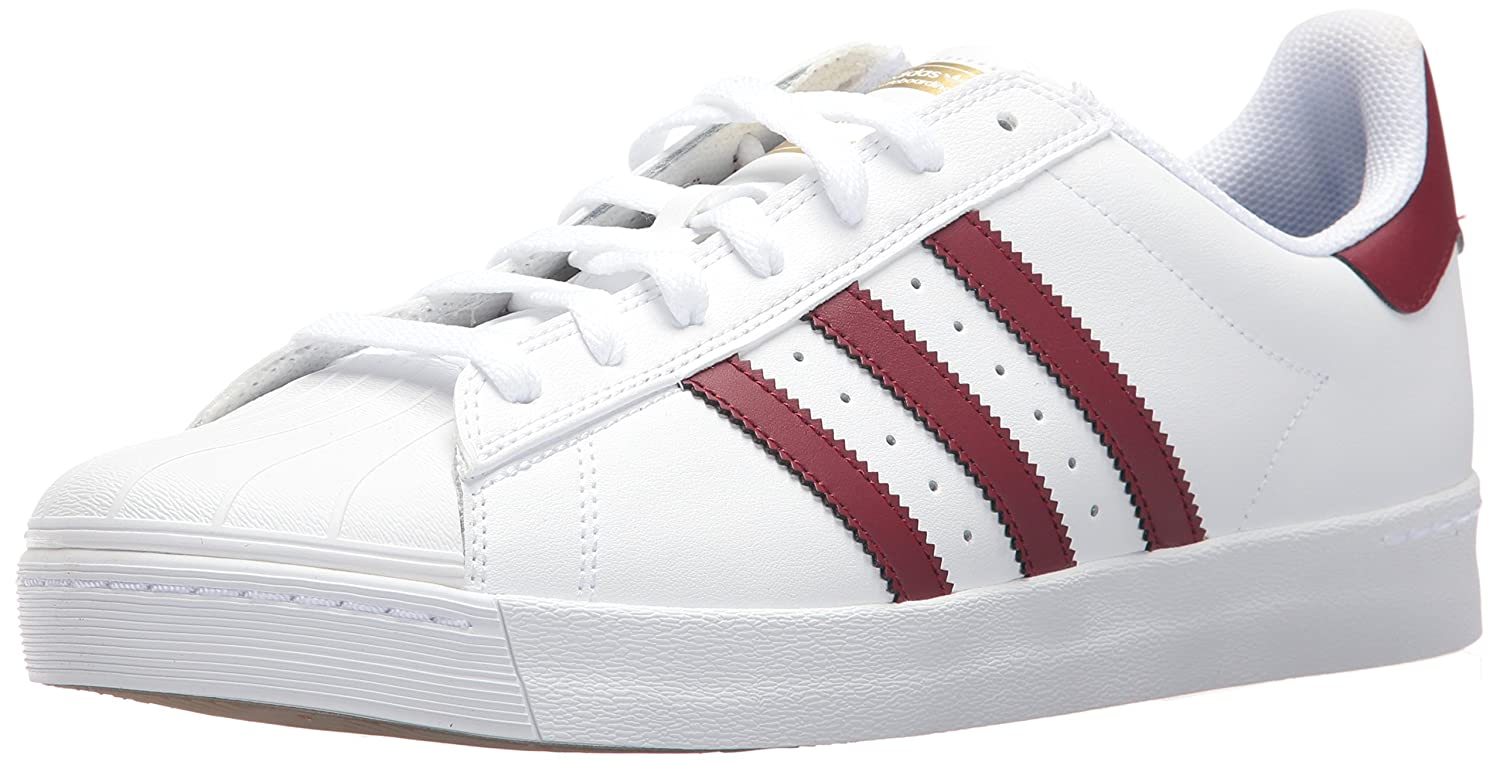 adidas Originals Men's Superstar Vulc Adv Shoes B06Y1MBD57 10.5 M US Women / 9.5 M US Men|Footwear White/Collegiate Burgundy/Gold Metallic