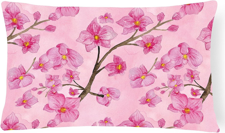 Caroline S Treasures Bb7505pw1216 Watercolor Pink Flowers Canvas Fabric Decorative Pillow 12h X16w Multicolor Garden Outdoor