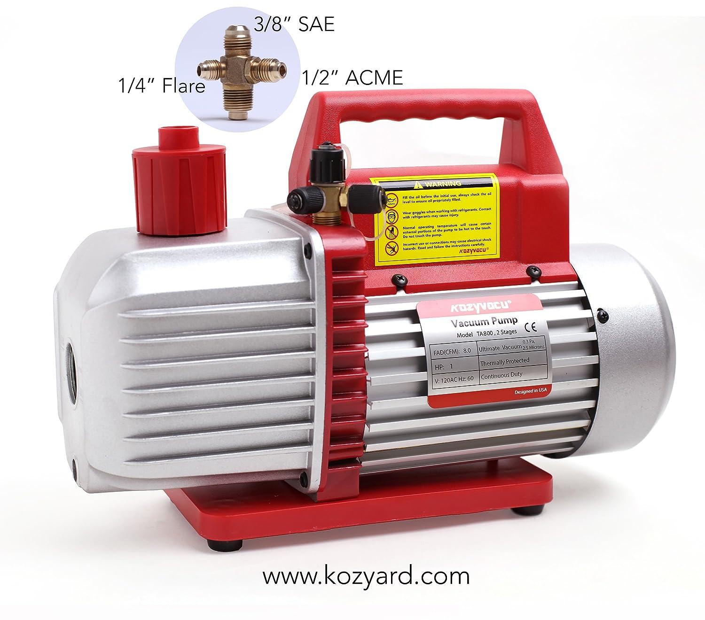 Kozyvacu 8CFM Two-Stage Rotary Vane Professional Vacuum Pump (25 Micron, 3/