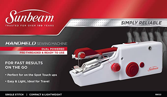 Amazon Sunbeam Portable Cordless Handheld Sewing Machine Red Simple Easy Hand Sewing Machine