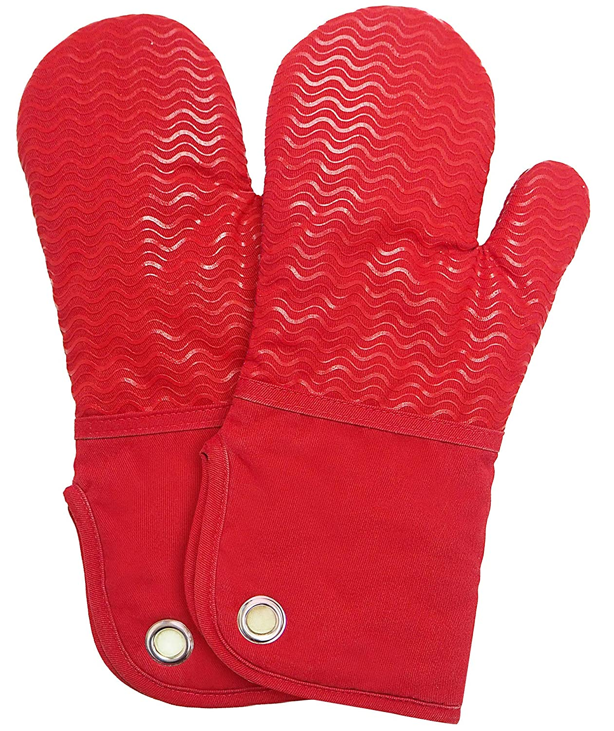 Silicone Groment Oven Mitts with Heat Resistant Non-Slip Set of 2, Cotton Quilting Lining, Oven Gloves and Pot Holders Kitchen Set for BBQ Cooking Baking, Grilling, Barbecue, Machine Washable Red